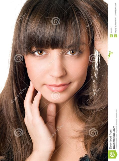 Pretty Woman With Dark Hair And Brown Eyes Stock Image