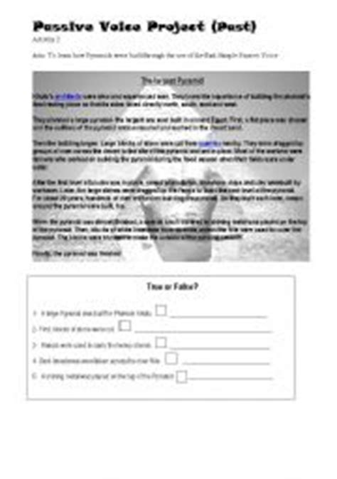 Passive voice in simple past worksheets