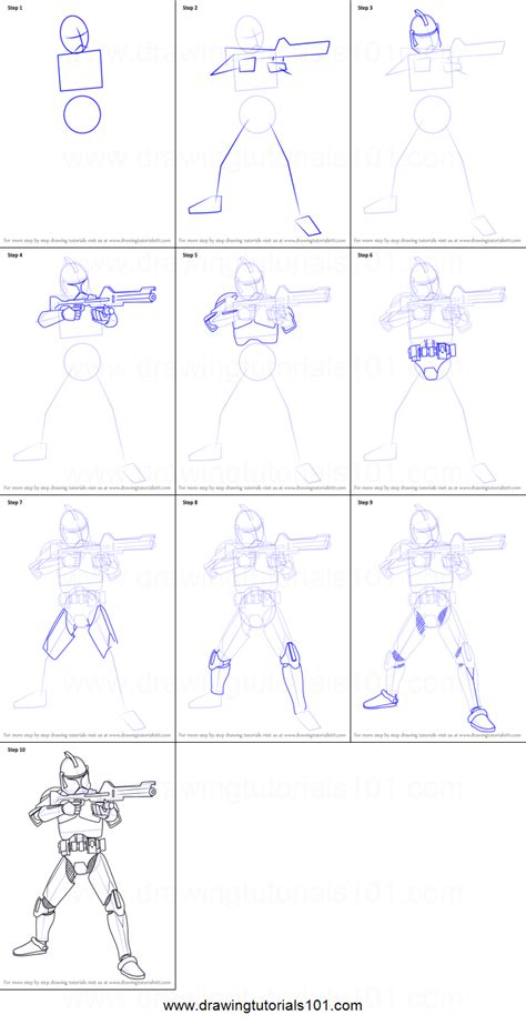 How to Draw Clone Trooper from Star Wars printable step by