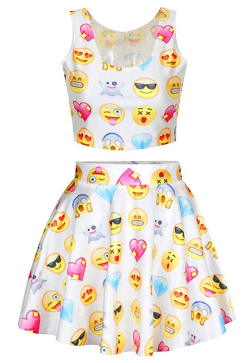 White Chic Emoji Printed Skater Skirt Suits - PINK QUEEN
