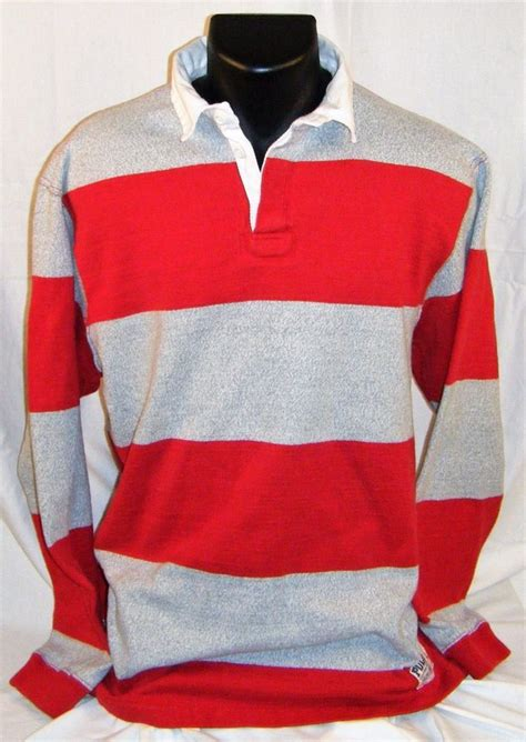 Polo Ralph Lauren Sporting Goods Red Grey Striped Rugby