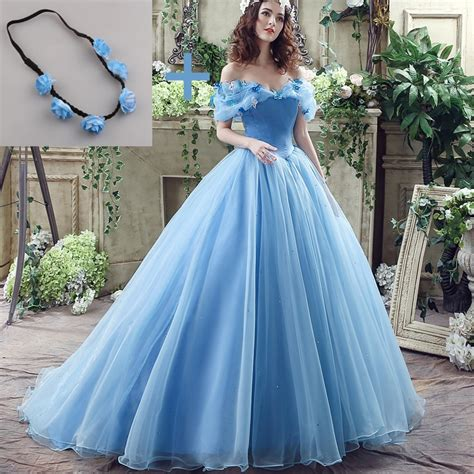 Deluxe Cinderella Wedding Dress Blue Bridal Gown Off The
