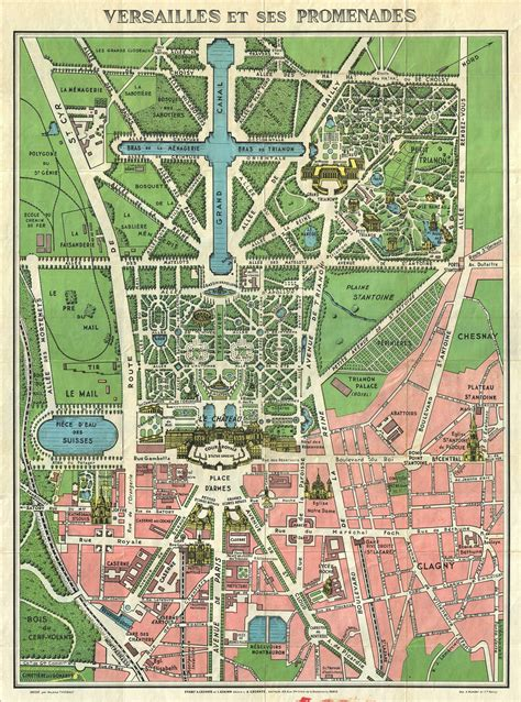 1920s Leconte Map of Versailles Gardens | 1664 Franse tuin