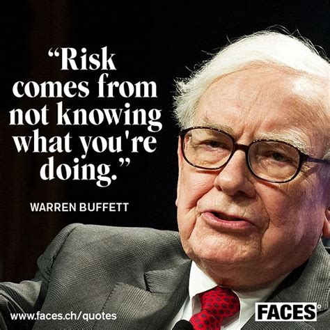 Business quote by Warren Buffett: Risk comes from not