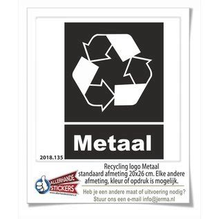 Metaal afval recycling sticker - JERMA Thuis in decoraties