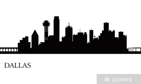 Dallas city skyline silhouette background Wall Mural