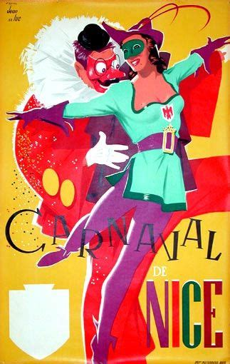 Carnaval Nice by Jean Luc (1955) #tourism #poster