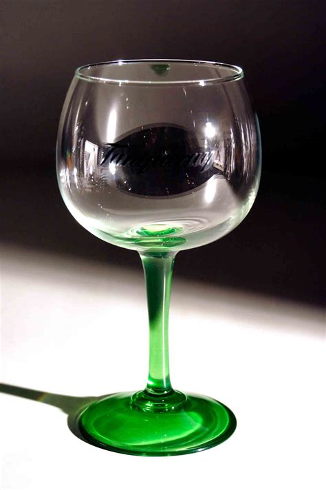 Tanqueray Ten Gin Balloon Glasses with green handle for
